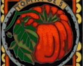 Tomato, hot plate, wall decor, coaster, kitchen backsplash, bathroom mural, mosaic, installation, original hand crafted in the USA