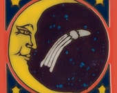 Moon, Stars, Celestial, Universe, hot plate, wall decor, kitchen backsplash, bathroom mural, installation, mosaic, hand crafted in USA