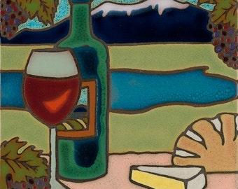 Handpainted tile Wine design made in usa ceramic tile original art