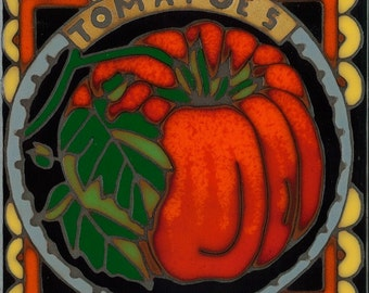 Tomato, hot plate, wall decor, coaster, kitchen backsplash, bathroom mural, mosaic, installation, original hand crafted in the USA