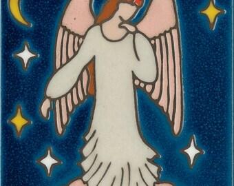 Hand painted ceramic tile Angel original art tile
