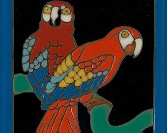 Hand Painted Ceramic Tile Catalina Tile Parrots Reproduction