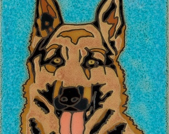 Hand Painted Ceramic German Shepherd Original Art