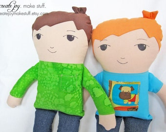 Boy Doll Sewing Pattern and Tutorial - simple, easy, cloth, fabric, plush, plushie, softie, stuffed, soft, toy