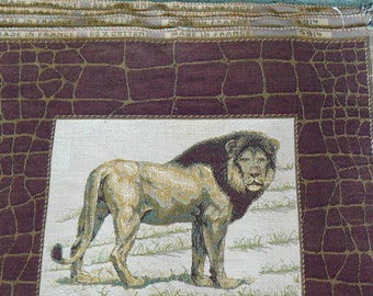 Lion Tapestry Panels for Pillows Set of Four