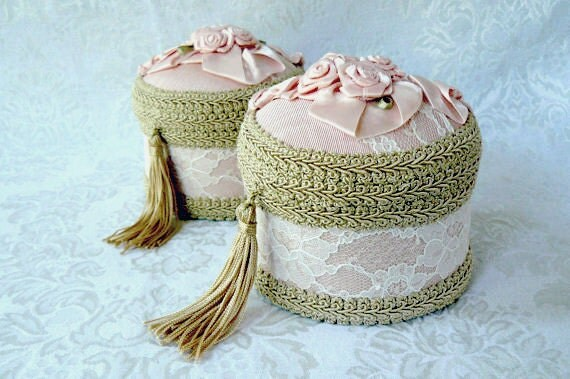 Keepsake Box Pink Moire with Ribbon and Roses
