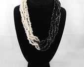 Vintage black white multi strand spring Mother's Day  necklace  free shipping