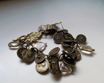 Gold  Coin Crystal Bracelet