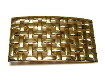 Vintage scarf clip, gold tone, geometric, rectangular, basketweave, Jeri-Lou scarf clip
