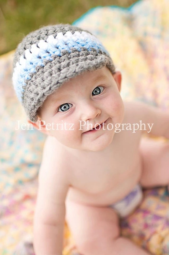 Crocheted Newsboy Style Visor Hat  - Newborn to 4T - Pick your own