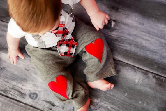 Baby Boy Heart Knee Patch pants - Photo Prop, Baby Boy Gift, Valentine