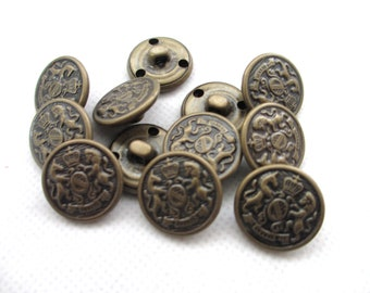 12 Vintage 18 mm Brass Tone Crest Crown Military Style Hollow Metal Round Shank Button