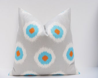 Orange Blue Pillow.Grey.Ikat Pillow.Spots.Gray Blue Pillow. 18x18 inch .Decorator Pillow Cover. Accent Pillow.Printed Fabric both sides