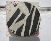 Abstract Zebra clay brooch