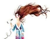 Hair-drying Woman Print Illustration Watercolor Bath Brown
