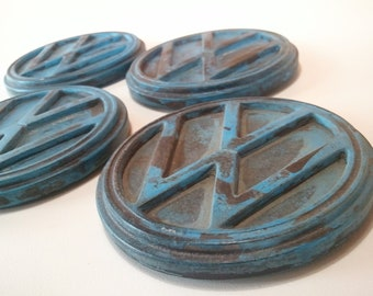 urban fossil concrete vw drink coaster fossilized art set of 4