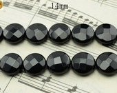 15 inch strand of natural Black Onyx faceted coin beads 14mm