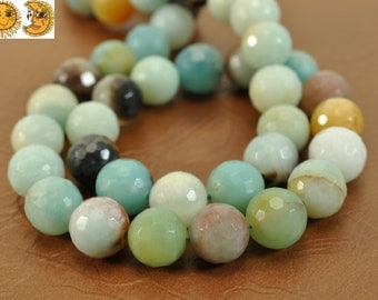 15 inch strand of natural Amazonite faceted(128) round beads 8mm