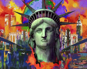 """The Statue Of Liberty. New York City. Painting on Giclee Canvas 16""""x20"""" with mat frame. By the Artist"""