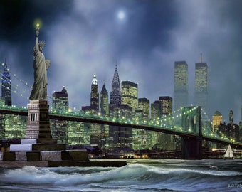 """New Work Brooklyn Bridge Skyline Statue Of Liberty Landscape. Painting on Giclee Canvas 16""""x20"""" with mat frame. By the Artist"""