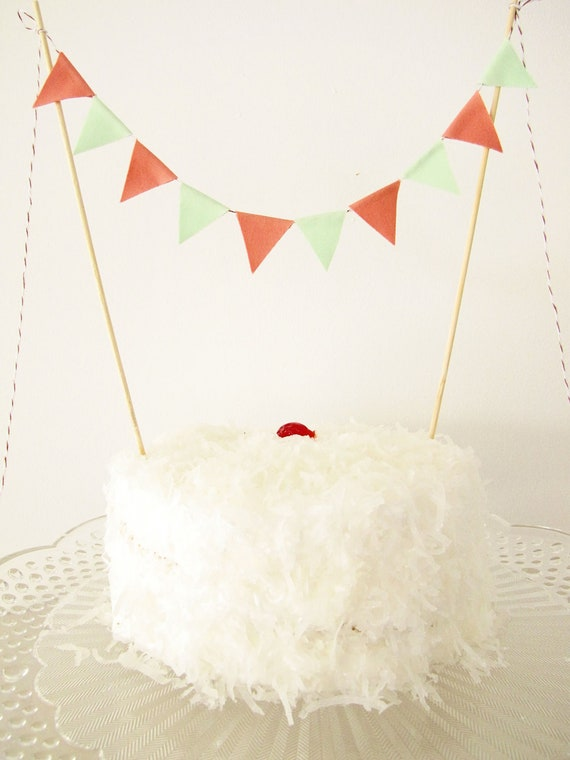Fabric Cake Bunting Decoration - Cake Topper - Wedding, Birthday Party, Shower Decor in peach and mint