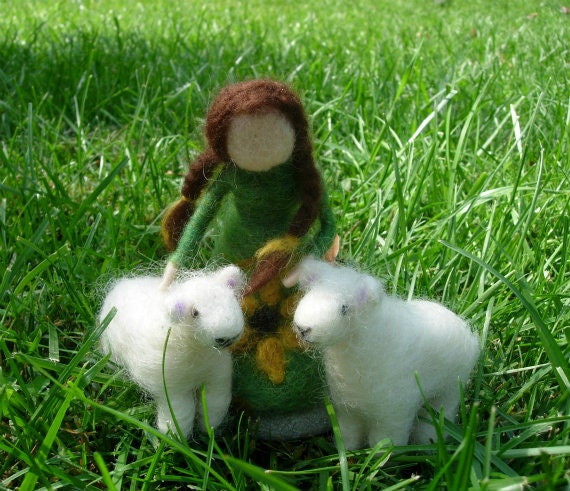 Shepherdess and Sheep Dolls- Needle Felted Waldorf Inspired Dolls For Children or Decoration