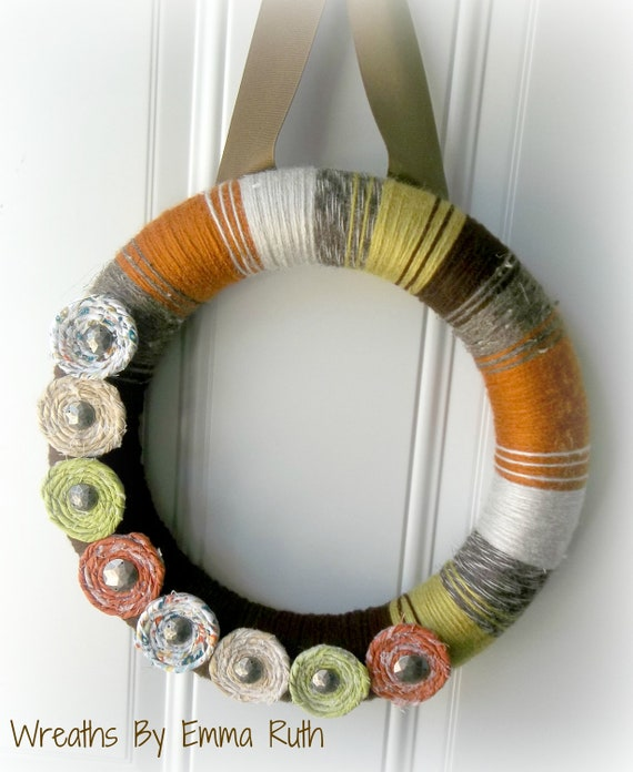 Funky Rustic Fall Yarn Wreath in Rustic Orange, Green, Brown & Gray with rolled fabric rosette flowers