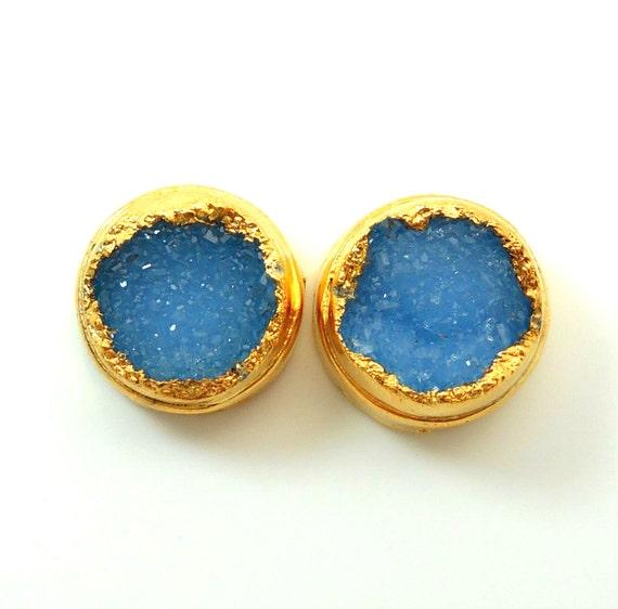 Blue druzy stud earrings, 18k gold dipped