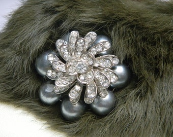 Jewelled Forest Green Genuine Rabbit Fur Collar & Handmade Brooch.