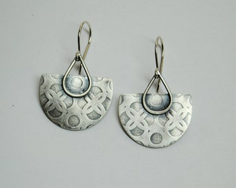 Embossed Celtic Pattern - Handmade Sterling Silver Earrings - hoop earrings