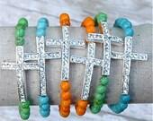 Orange, Green, Blue sideways pave cross bracelets