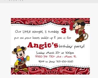 Cowboy Mickey & Cowgirl Minnie 5 x 7 Digital Invitation