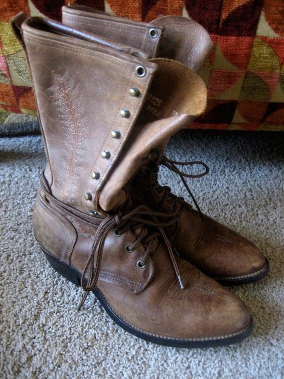 Cowboy Boots - 10 - Brown Leather Lace Ups