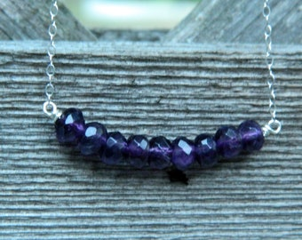 Amethyst Carrie necklace in sterling silver - Pancreatic Cancer Awareness