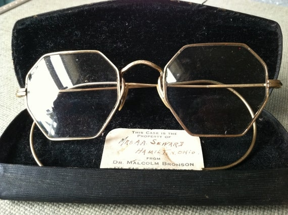 SALE price reduced.  vintage antique octagonal spectacles eyeglasses gold filled, hamilton, ohio