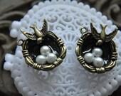 6pcs 7x20x25mm Antique Bronze Lovely 3D Bird Nest Charms Pendant