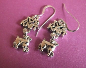 Knitting Jewelry - Sterling Silver Earrings with a knitting, sewing, quilting theme - I love 2 knit with Lamb drop
