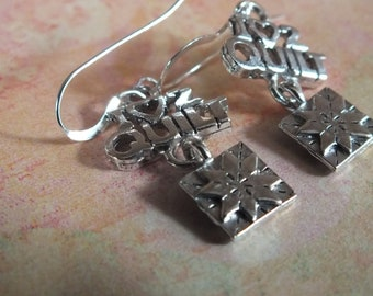 Quilt Jewelry - Sterling Silver Earrings with a knitting, sewing, quilting theme - I heart 2 quilt with drop