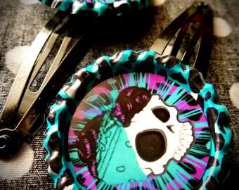 Gothabilly Skull hair clips