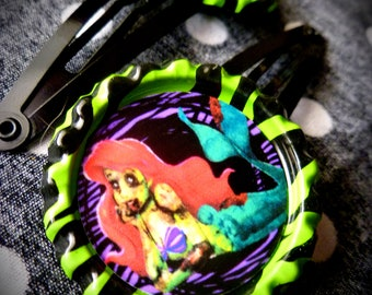 Zombie Mermaid hair clips