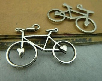 20PCS antique silver 23x30mm bicycle charm pendant- WC3804