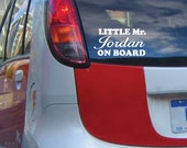 StickTak Stickers Custom Personalised Name LITTLE Mr. on BOARD Vinyl Car Decal Bumper Sticker