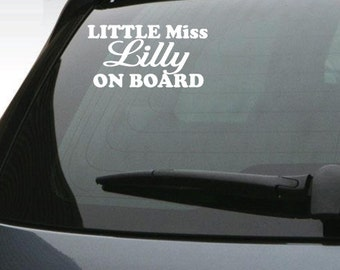 StickTak Stickers Custom Personalised Name LITTLE MISS on BOARD Vinyl Car Decal Bumper Sticker