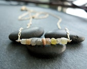 Natural Uncut Rough Diamond Cubes Necklace - Organic & Genuine Raw Diamond Necklace - Modern Everyday Diamond Jewelry