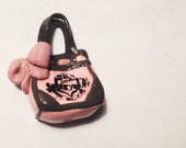 Mini Pink/Brown Daydreamer Juicy Couture Tote Bag Purse with Bow Charm