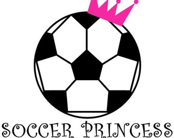 Princess T-Shirt,Soccer Princess Printed Design,Soccer T-Shirts,Princess T-Shirts,Girls T-Shirts