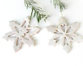 Snowflake Pottery Rustic Decoration White Eco Friendly Ceramic Ornament Set of 2 Wedding Gift - Ceraminic