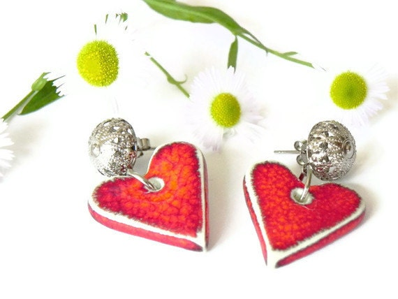 Ceramic Studs Heart Earring Red Fashion Jewelry Romantic  Silver Filigree Post Recycled Box
