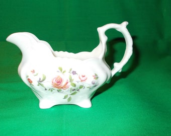 One (1), 4 oz. Bone China, Mini Creamer, from Hammersley, in a Unknown Rose Pattern.