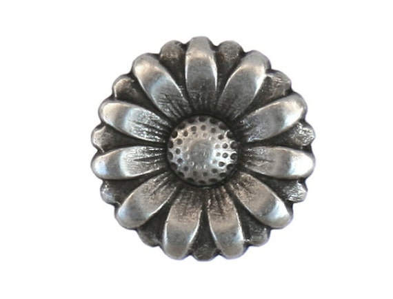 3 Morning Flower 11/16 inch ( 18 mm ) Metal Buttons Silver Color